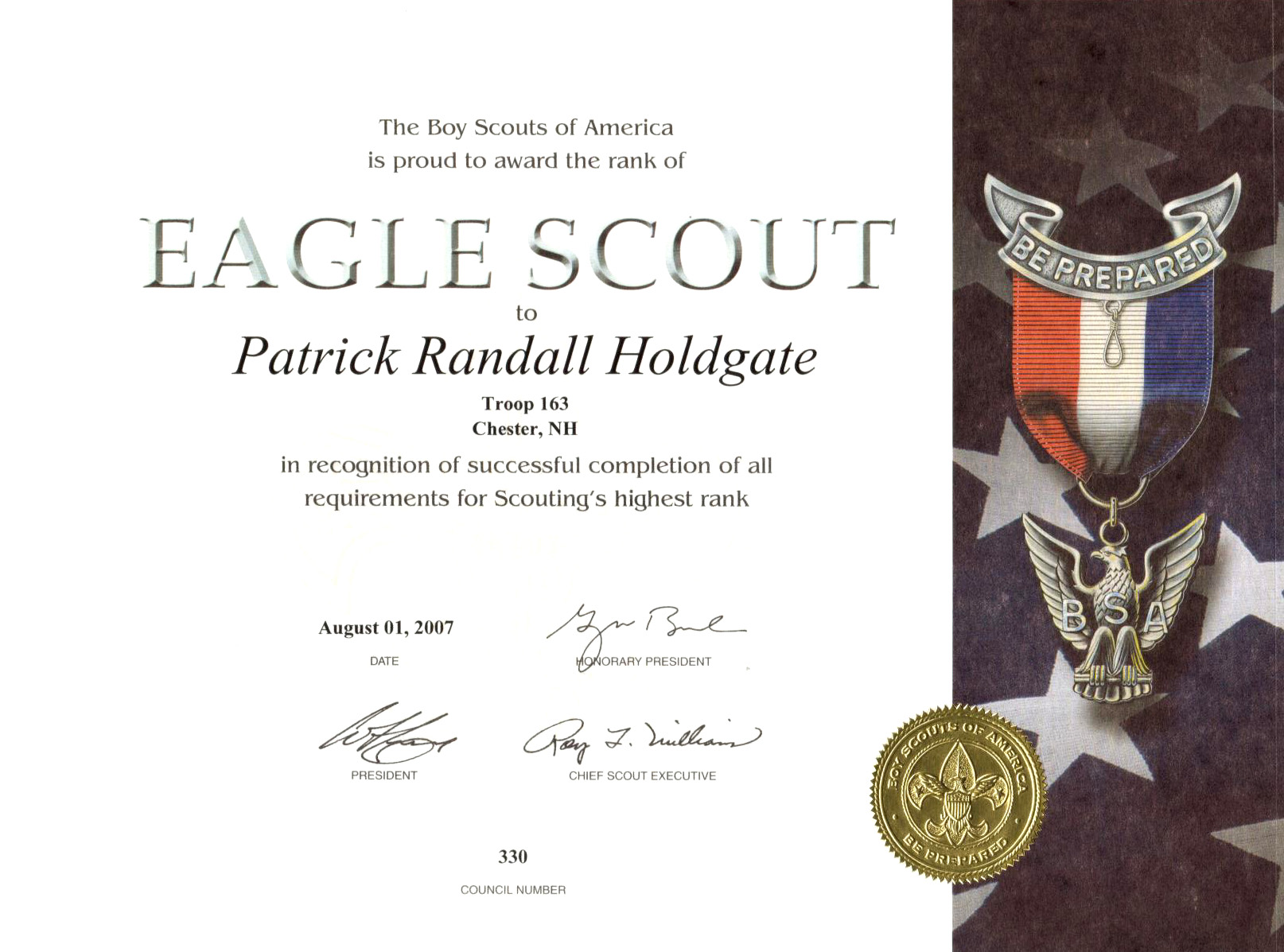 Eagle scout award certificate template pictures to pin on for Eagle scout certificate template